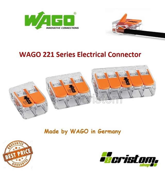 413-lever-clamp-3-way-connectors-terminals-packs-1/ 100 orange wago-221